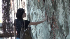 Chinese woman walking around the Fort Zeelandia Stock Footage