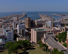 High angled pan of Port Elizabeth city - stock footage