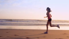Running woman outdoors exercise Stock Footage