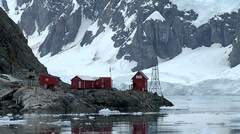 Almirante Brown Antarctic base. Taken from a ship Stock Footage