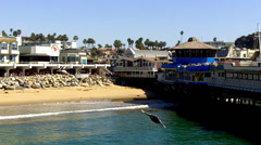 Redondo Landing Shops, Restaurants, Beach From Ocean Pier Stock Footage