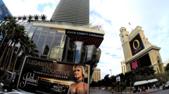POV drive downtown Vegas City Showtime advertising Casino Hotels Nevada USA - stock footage