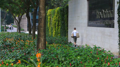 Asia Singapore Downtown greenery city greenery wall Stock Footage