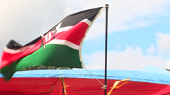 Kenya's flag waving Stock Footage