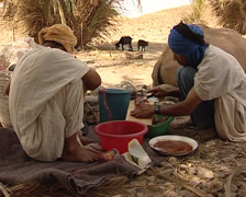 Berber marinating meat Stock Footage