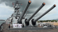 Pearl Harbor, USS Missouri. Hawaii; aft deck and 16-inch (410 mm) gun turret Stock Footage