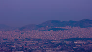 Stock Video Footage of City awakes Athens overview night to day time lapse 4k