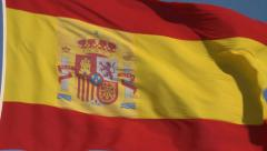 Spain fla. National flag with coat of arms Stock Footage