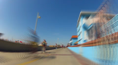 Fast Motion Bike Riding Hermosa Beach Strand With Surfer Statue Stock Footage