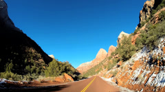 POV Zion Valley drive Navajo Sandstone rock cliffs National Park Utah USA - stock footage
