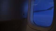 Indoor shot of a airplane wing Stock Footage