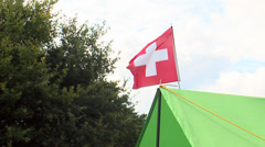 Red Cross flag in the camp Stock Footage