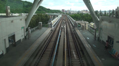 Overview subway arriving to the World Games Station Stock Footage