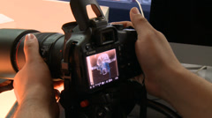 Making a macro photography of a Portuguese man o' war Stock Footage