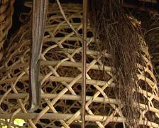 Mentawai making a basket Stock Footage