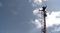 Sailor working on mast. Fore-mast Stock Footage