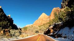 POV Zion Valley drive Navajo Sandstone rock cliffs National Park Utah USA Stock Footage