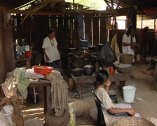Traditional maya family in a house lacandon Stock Footage