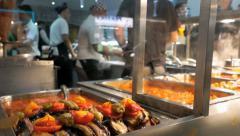 Street food - takeaway being prepared and served. Stock Footage