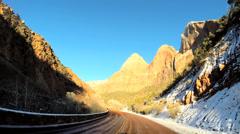 POV Zion Valley drive Navajo Sandstone rock cliffs National Park Utah USA - stock footage