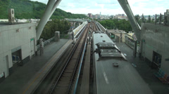 Overview subways leaving/arraving the World Games Station Stock Footage