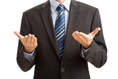 gesture of innocence by businessman - stock photo