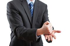 gesticulation during the speech - stock photo