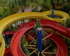 Water slides at Aventura Resort Stock Footage