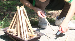 Chinese make fire with wood Stock Footage