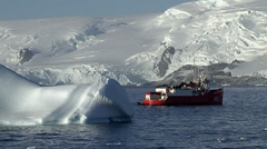 Scientific boat anchored in middle of the antarctic Stock Footage