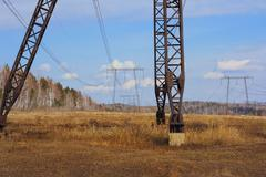 Electrical grid near field Stock Photos