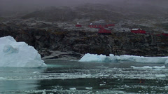 Vew of Primavera Station and icebergs taken from boat - stock footage