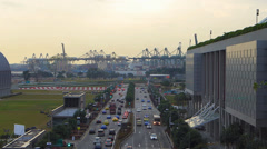 Busy traffic to Port of Singapore Container harbor harbour Stock Footage