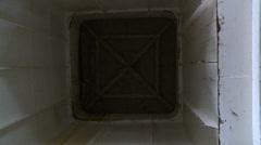 Opening the cellar door. Inside view Stock Footage