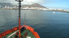 Cape town viewed from The Hesperides, A33. Sailors ready to dock Stock Footage