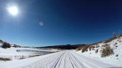 POV drive winter snow landscape extreme terrain Zion Park Utah USA - stock footage