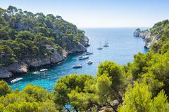 calanques of port pin in cassis - stock photo