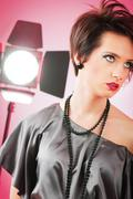 Fashion beauty concept with girl in studio - stock photo