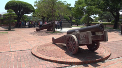 Childrens playing with the Fort Zeelandia cannons Stock Footage