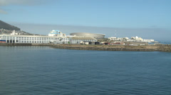 Cape town viewed from a ship Stock Footage