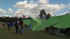 Green tents in the camp Stock Footage