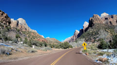 POV Zion Valley drive Navajo Sandstone rock cliffs winter National Park Utah - stock footage