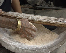 Mentawai cooking using bamboo cane as saucepan Stock Footage