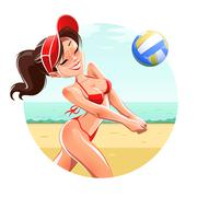 Girl play volleyball on beach Stock Illustration