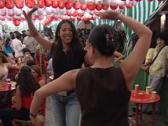 Japanese dancing in Velá Santana fair  Stock Footage