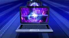 Abstract technological backgrounds on screens of laptops. Stock Footage