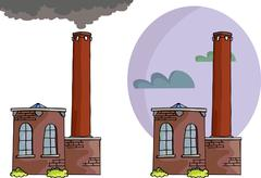Brick Power Plant Stock Illustration