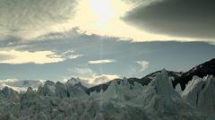 Nice view of Perito moreno glacier. Sunset Stock Footage