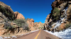 POV Zion Valley drive Navajo Sandstone rock cliffs winter National Park Utah - stock footage