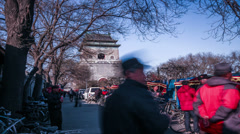 Lots of pedicab drivers wait for guest in front of Bell Tower - stock footage